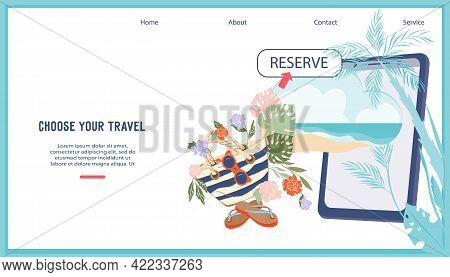 Booking Online Flights And Hotels, Travel Places Reservation - Web Banner With Vacation Supplies Nex