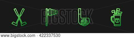 Set Line Golf Club With Ball, Crossed Golf, Flag And Bag Clubs. Gradient Color Icons. Vector