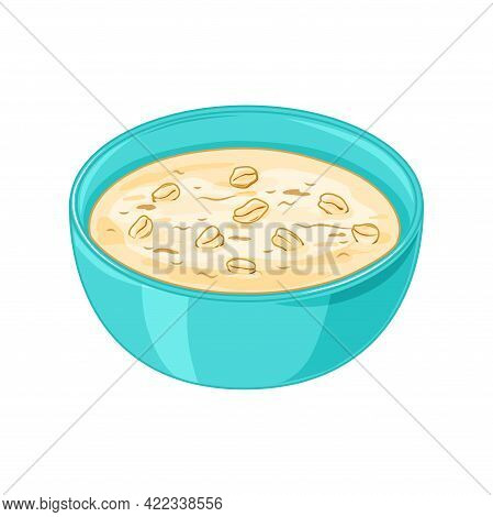 Oatmeal Porridge In A Plate On A White Background. Healthy Food For Breakfast. Vector Illustration I
