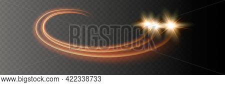 Abstract Vector Magic Glow Star Light Effect With Neon Blur Curved Lines.