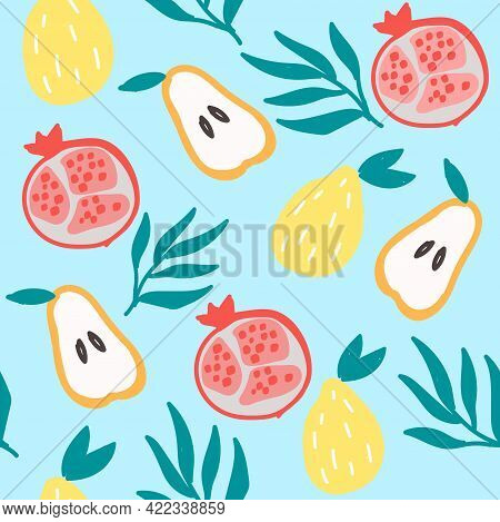 Seamless Vector Pattern With Fruits: Pear, Pomegranate, Lemon