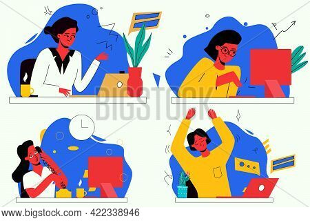 Vector Set With Illustrations On The Topic Of Work, Business. A Woman Works At A Computer, A Woman D