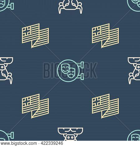 Set Line Minotaur, Greece National Flag And Comedy And Tragedy Masks On Seamless Pattern. Vector