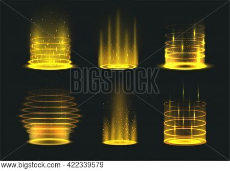 Portal Yellow Light Effect Set Vector Illustration Level Up And Teleportation Bright Wrapped Aura