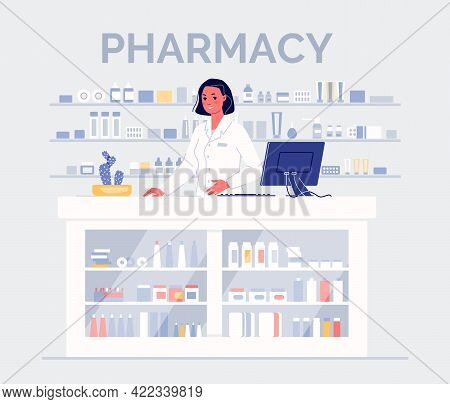 Friendly Pharmacist Woman At The Counter With Medicines. Pharmacy Concept. Color Vector Illustration