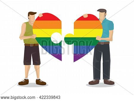 Lgbt Rainbow Light With Cartoon Characters. Symbol Of Lgbt Community. Concept Of Lgbt, Equality And