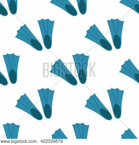 Seamless Pattern Of Plastic Blue Fins For Diving Equipment Diveres On A White Background.