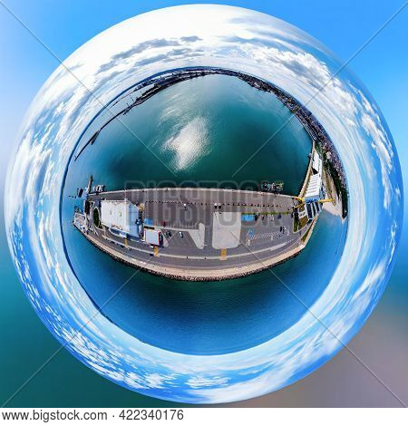 Aerial View Of Burgas Bay And The Seaport Of Burgas, Bulgaria In Shape Of Tiny Planet.