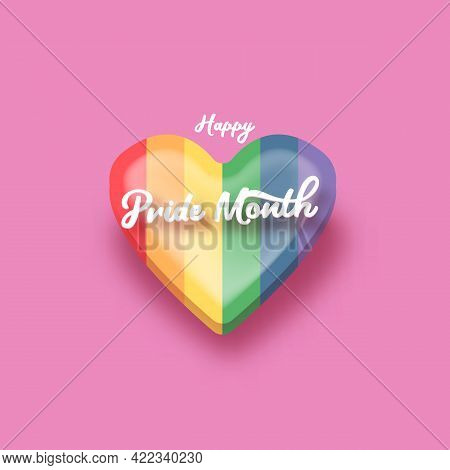 Happy Pride Month Banner With Heart And Pride Color Flag Isolated On Pink Background. Vector Pride M