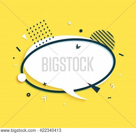 White Speech Bubble And Round Black Frame In Paper Cut Style. Memphis Art Banner With Geometric Shap