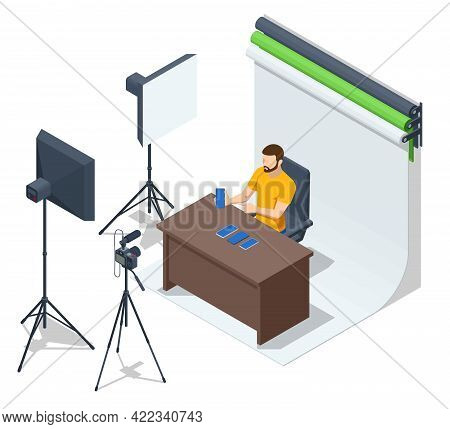 Isometric Video Blogger Recording Video With Camera. Journalist. Tutorial Blogger, Blog Online, Web