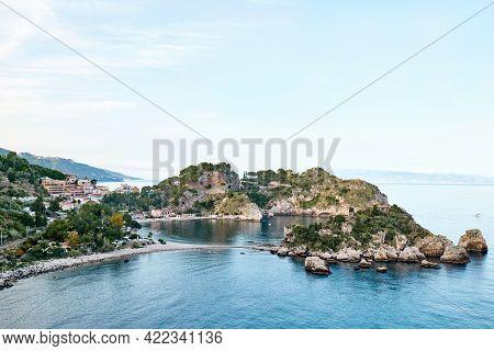Isola Bella Island Near Taormina, Sicily, Italy Beautiful Small Island Surrounded By Azure Waters Of