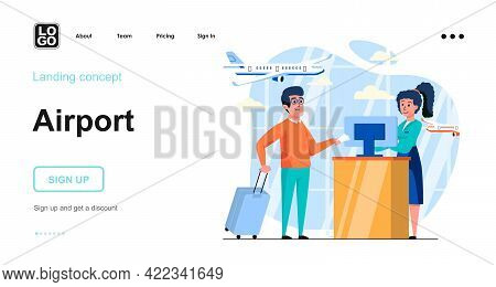 Airport Web Concept. Passenger Check In Registration At Terminal Counter Before Boarding Plane. Temp