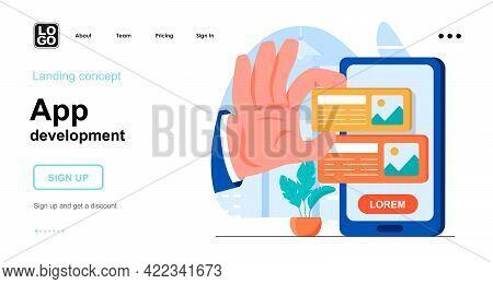 App Development Web Concept. Developer Creates Application Interface, Develops Smartphone Software.