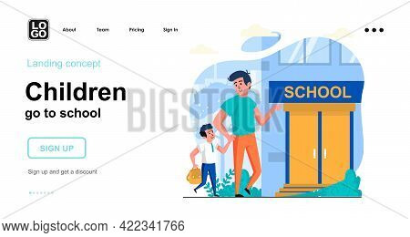 Children Go To School Web Concept. Father Takes His Son To School In Morning. Pupil Goes To Lesson.