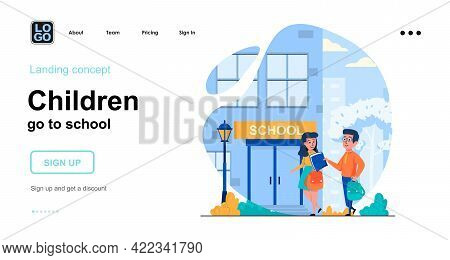 Children Go To School Web Concept. Pupils Rush To Classroom In Morning. Students Go To Lessons. Temp