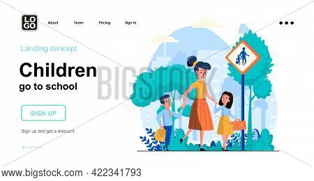 Children Go To School Web Concept. Mother Takes Her Son And Daughter To School. Pupils Go To Lesson.
