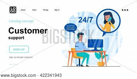 Customer Support Web Concept. Operator Takes Calls From Clients, Processes Applications Online. Temp