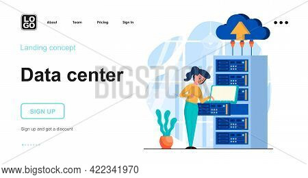 Data Center Web Concept. Datacenter With Equipment, Server Room With Hardware, Cloud Computing. Temp