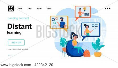 Distant Learning Web Concept. Students Study Online, Watch Webinars And Training Videos, E-learning.