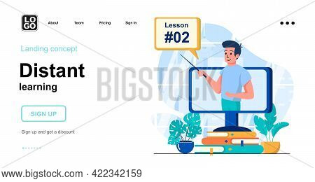 Distant Learning Web Concept. Online Education And Homeschooling, Watch Training Tutorial At Home. T