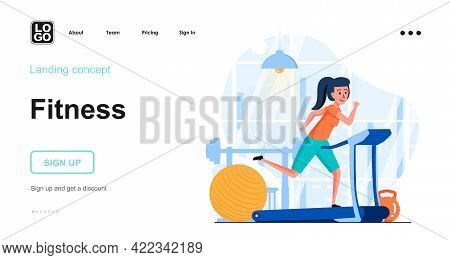 Fitness Training Web Concept. Woman Jogging On Treadmill In Gym, Cardio Training, Healthy Lifestyle.