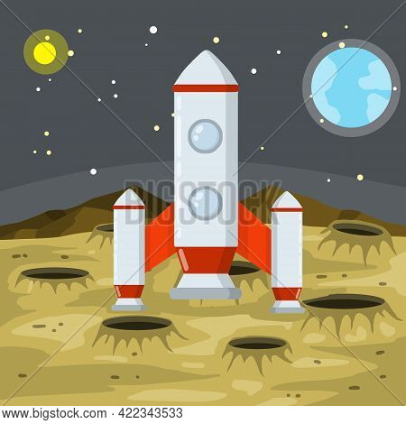 Landing And Launching A Rocket On The Asteroid Landscape. Stars And Space Flight. Moon. Lunar Surfac