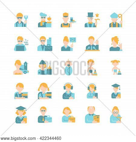 Different People Avatars Vector Flat Color Icon Set. Age And Gender Groups. Social Status, Work And