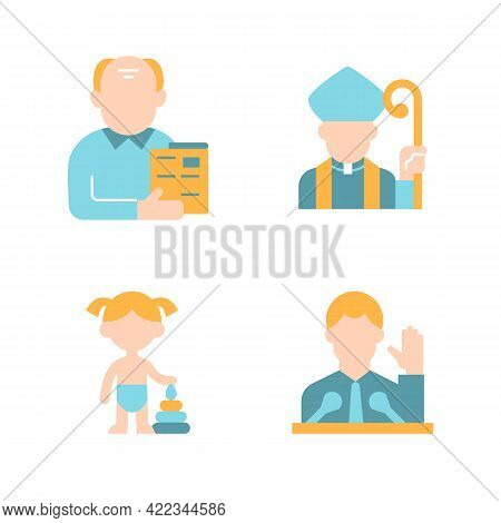 Social Groups Vector Flat Color Icon Set. Middle Aged Man. Clergy Class. Girl Toddler. Political Eli