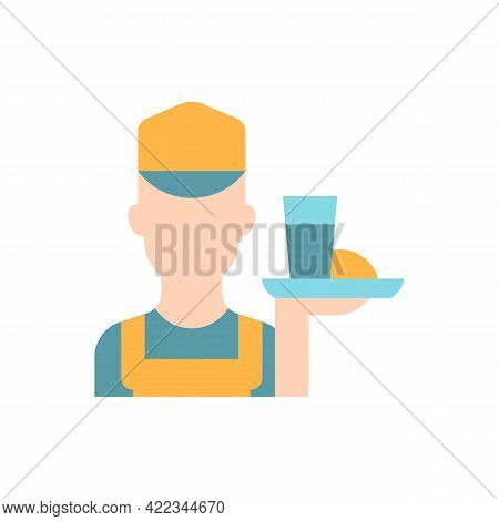 Working Poor Vector Flat Color Icon. Waiter Holding Platter With Food. Underpaid Worker. Part Time J