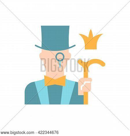 Aristocratic Elite Vector Flat Color Icon. Posh Gentleman With Monocle. Rich Person, Wealthy Victori