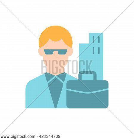 White Collar Worker Vector Flat Color Icon. Professional Businessman, Executive Management Employee.