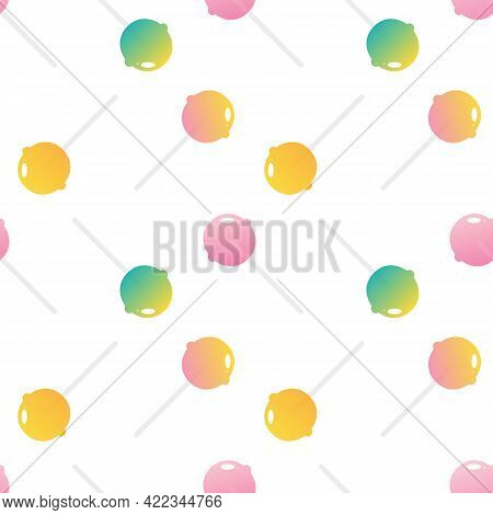 Cute Cartoon Style Colorful Lollipops, Sugar Candy On Stick Vector Seamless Pattern Background. Conf