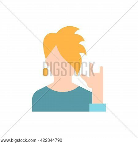 Subculture Vector Flat Color Icon. Rocker Style. Punk Clothing On Teenager. Social Group, Society Ca