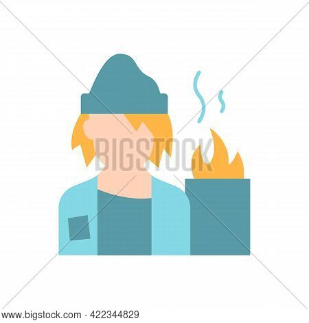 Lower Class Vector Flat Color Icon. Homeless Man. Poverty, Beggar Living On Street. No Home. Society