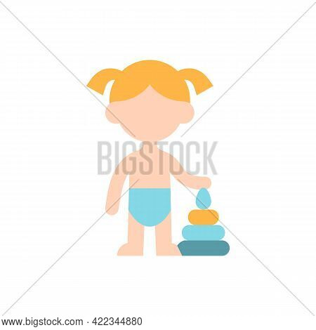 Female Toddler Vector Flat Color Icon. Little Kid, Child Playing With Toy. Preschool Years. Cognitiv