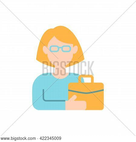 Female Adult Vector Flat Color Icon. Middle-aged Woman. 35-40 Years Old. Adulthood Period. Matured P