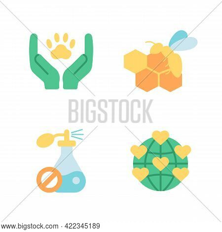 Environmental Protection Vector Flat Color Icon Set. Global Ecology Protection. Bio Product Ingredie
