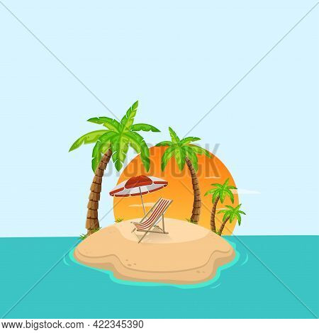 Tropical Island In Ocean With Palm Trees And Sunbed. Sandy Beach By Sea. Rest At Resort. Vector Illu