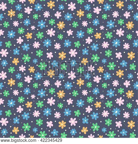 A Seamless Floral Pattern. Colorful Cute Children's Background. Summer Beautiful Print. Hand Drawn