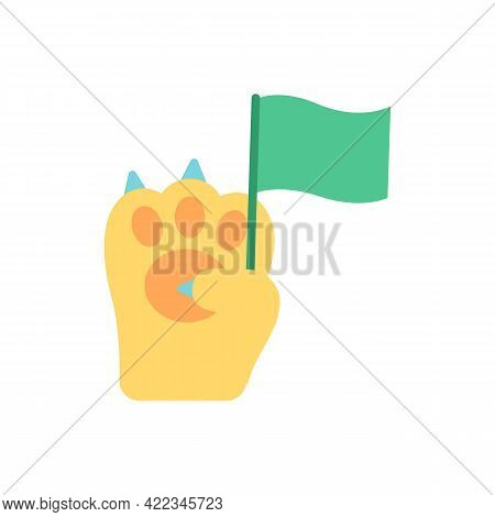 Animal Rights Activism Vector Flat Color Icon. Wildlife Protection And Preservation Campaign. Green