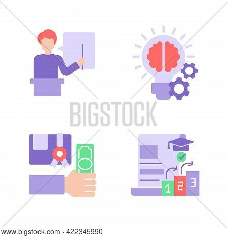 College Classes Vector Flat Color Icon Set. Education Cost And Studying For Scholarship. University