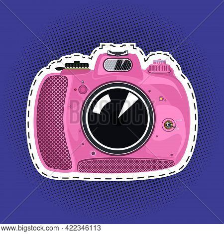 Pink Beautiful Cute Instant Print Camera , Manual Camera On A Purple Violet Pop Art Halftone Backgro