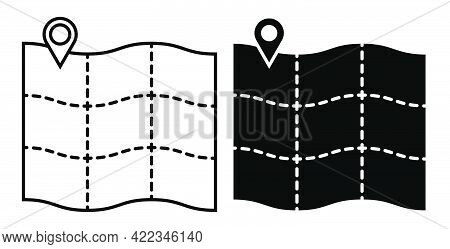 Map With Checkpoint Mark. Navigation On Paper Map Using Gps System. Simple Black And White Vector