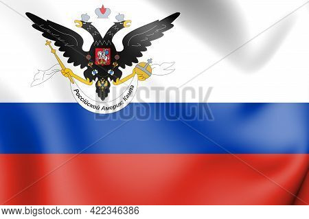 3d Flag Of Russian-american Company. 3d Illustration.