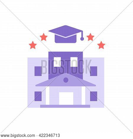 University Vector Flat Color Icon. Higher Education, Student Lifestyle. Academic Institution. Presti