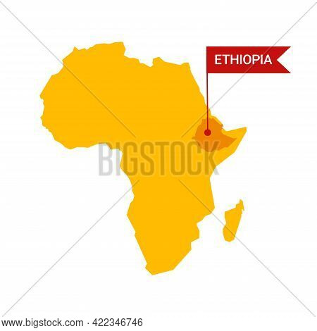 Ethiopia On An Africa S Map With Word Ethiopia On A Flag-shaped Marker.