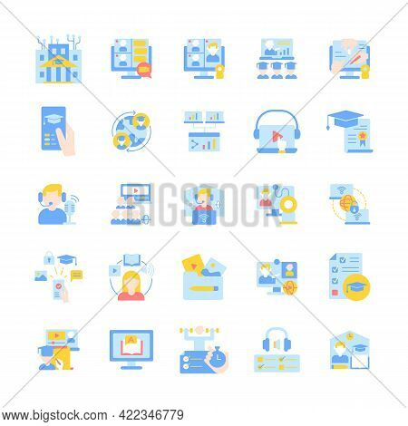 Online Tutoring Vector Flat Color Icon Set. Skill Development With Elearning Course. Education And T