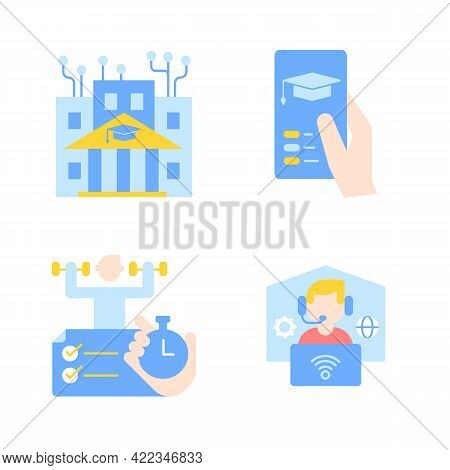 Distance Education Vector Flat Color Icon Set. Online University. Skill Development With Elearning C