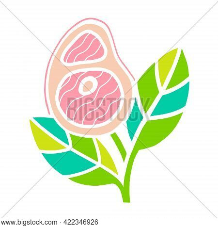 Plant Based Meat Concept. Vegan Product. Steak And Green Leaves Isolated On White Background. Organi
